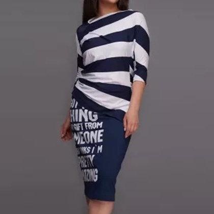 Letter Stripe Printed Skirt Sets