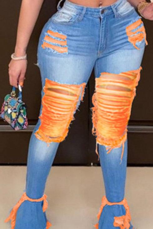 Casual Stitching Denim Jeans