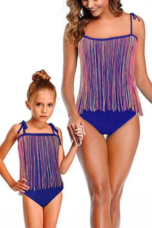 (Moms) and Daughter One Piece Straps Tassel  Swimwear