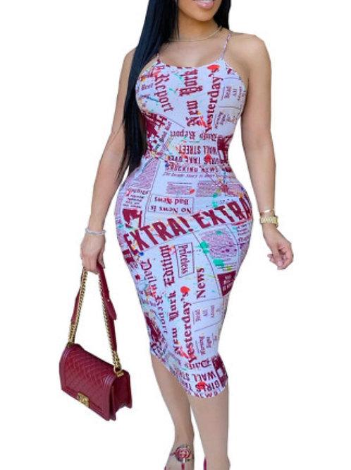 Spaghetti Strap Printed Dresses