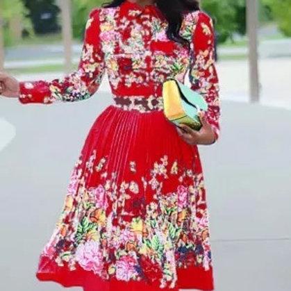 Pleated Print Dresses