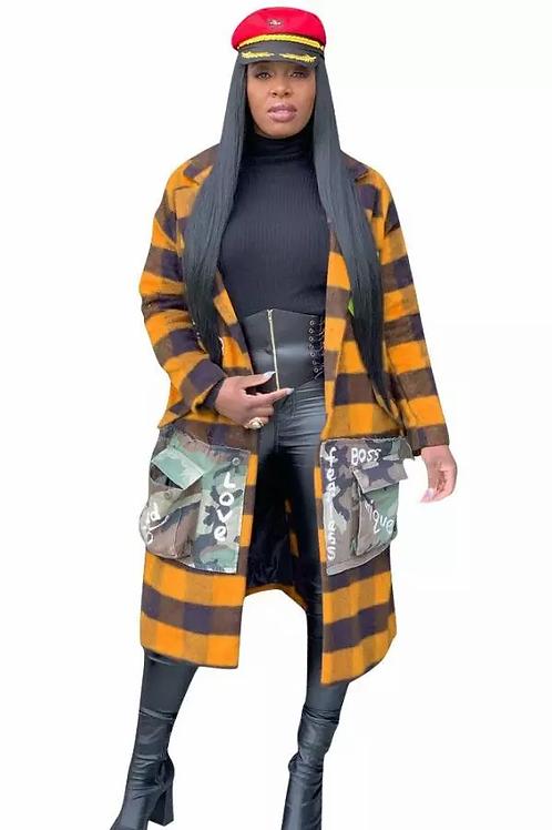 Multi-Pocket Camouflage Plaid Jacket