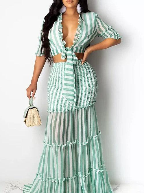 Striped Print Patchwork Dresses