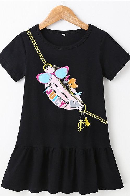 Girls Black Casual Design Dress