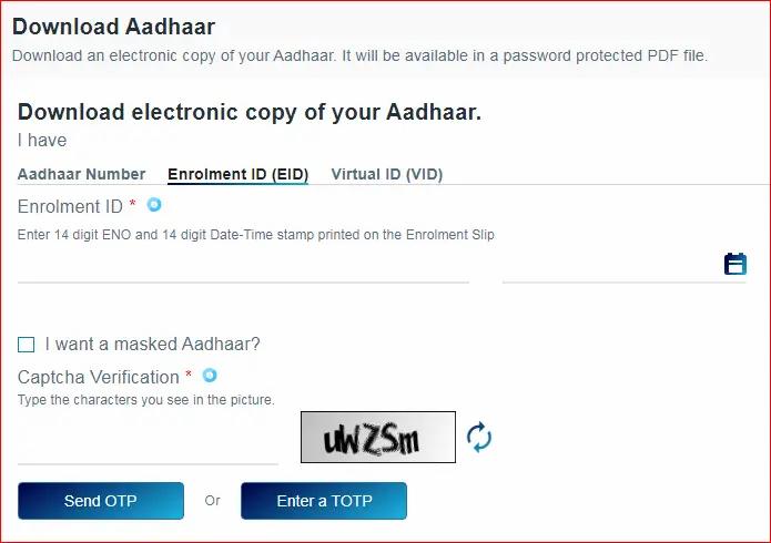 aadhar download enrollment number