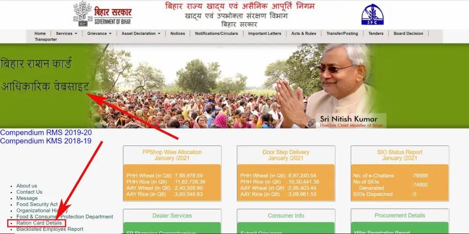 BIhar Ration Card List check 2021