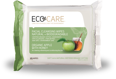 ECOCARE facial wipes - apple and honey