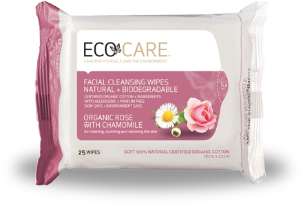 ECOCARE facial wipes - rose and chamomile