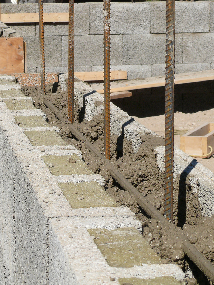 Nexcem ICF reinforced by rebar and filled with concrete