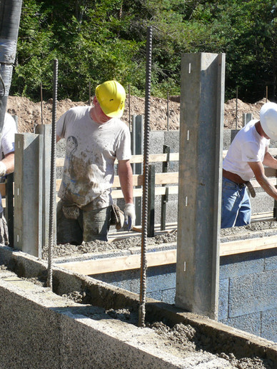 Pumping concrete in a Nexcem ICF wall