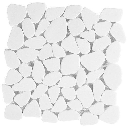 Tumbled Thassos Flat Pebble Mosaic