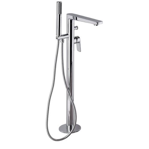 Bathtub Faucet Angular Floor Mounted Chrome