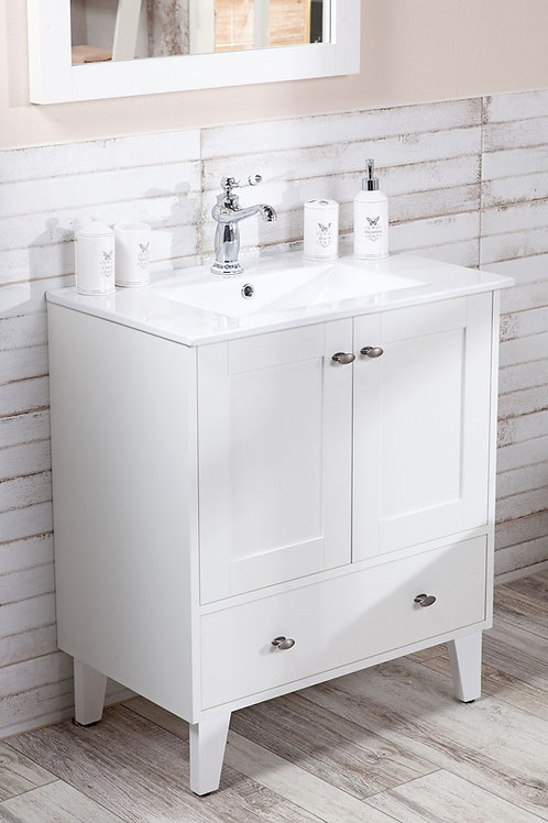 Smaller White Provence Free-standing Vanity + Sink