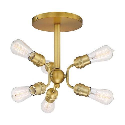 Nuvo Lighting Faraday Brushed Brass Semi-Flushmount Light