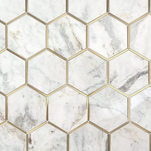 Bianco Orion Brass 6 in. Hexagon Polished Marble