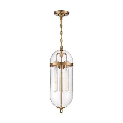Nuvo Lighting Fathom Vintage Brass / Clear Pendant Light