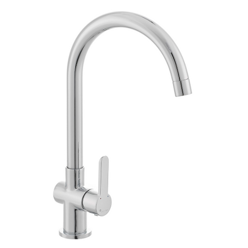 Curved Sink Faucet Chrome Thin Handle