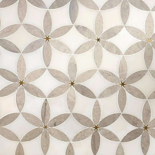 Cressida II Royal White and Brass Waterjet Marble