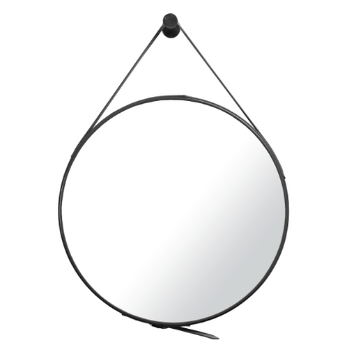 Mirror with Black Leather Belt