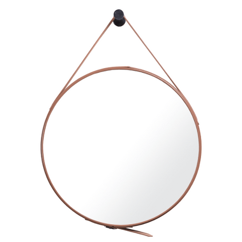 Mirror with Brown Leather Belt