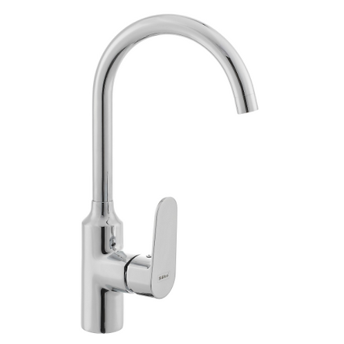 Curved Sink Faucet Chrome Tall Thick Handle
