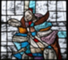 Glas in lood raam 'De wonderbare visvangst' | Antiekglas/lood/grisaille gemaakt in 1998 door Isa Ondrácek