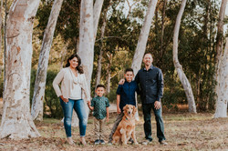 family posed with dog in park family photography los angeles california