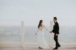 bride and groom rooftop beach wedding photography los angeles
