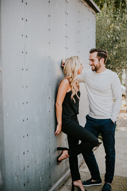engagement photography photo shoot posed leaning on wall malibu country mart los angeles