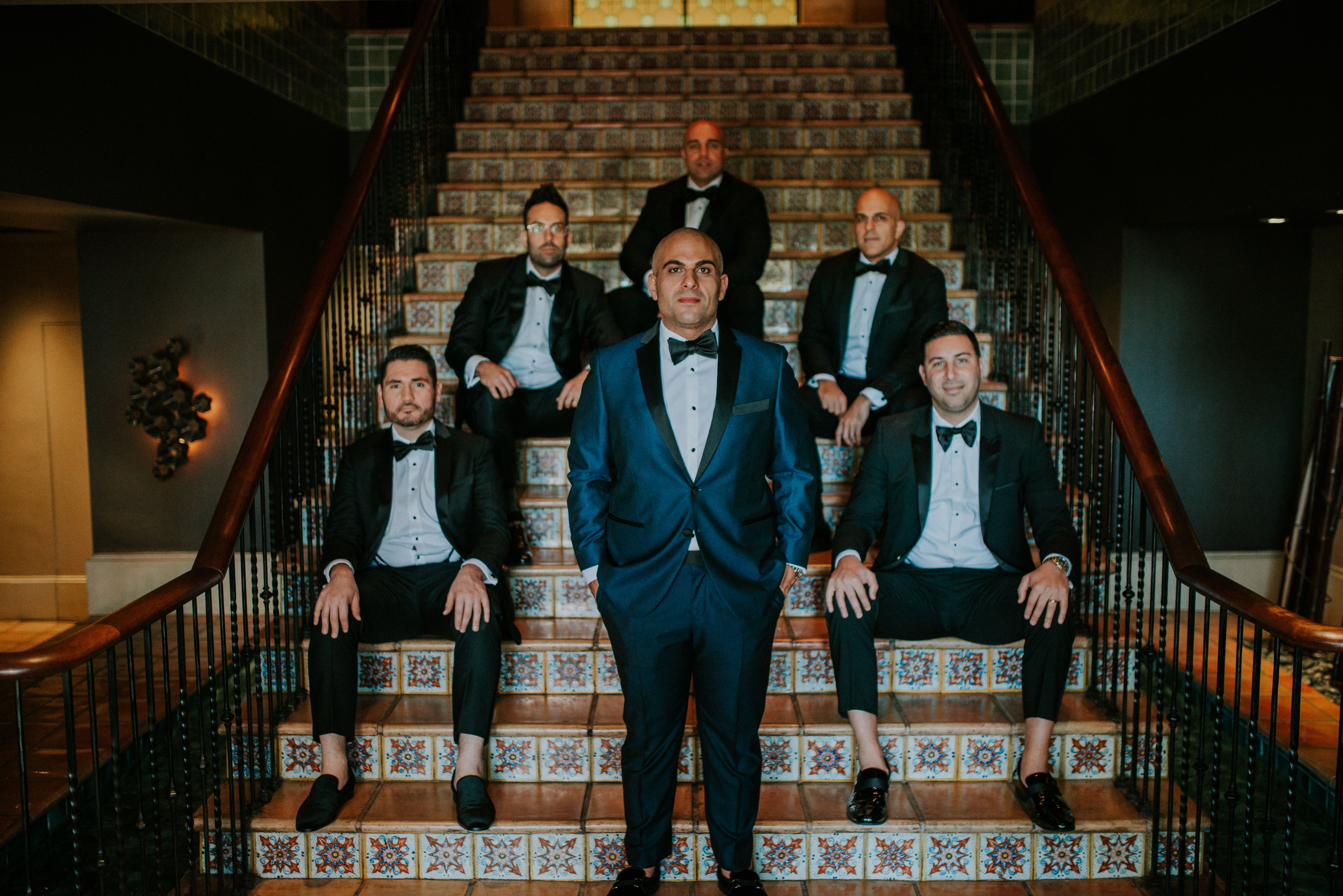 groom and groomsmen bridal party in blue tuxedo wedding day wedding photography the hollywood roosev