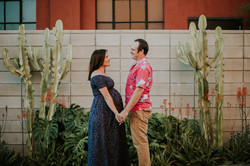 couple holding hands by cactus pregnancy photos maternity photography los angeles california