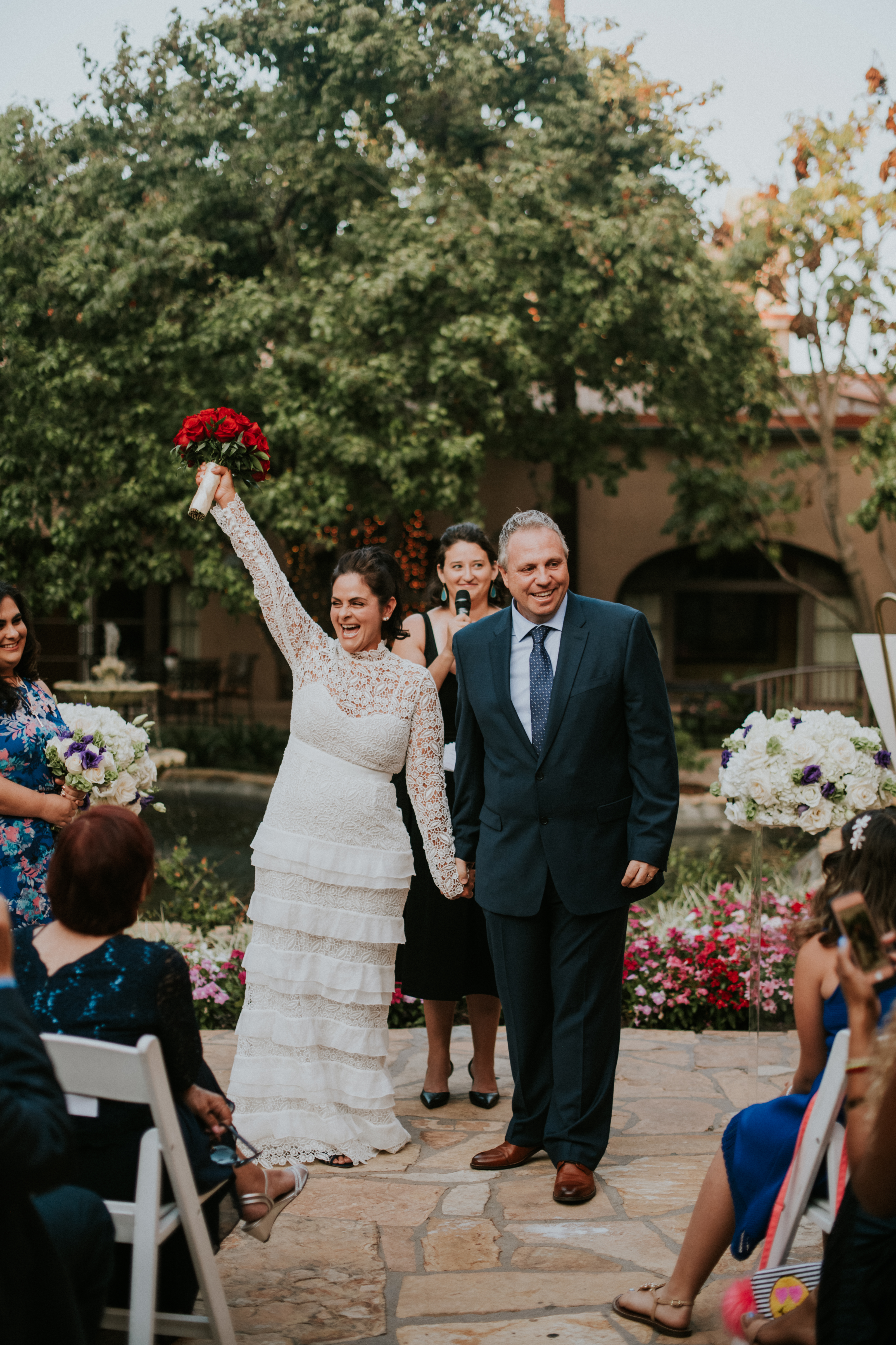 bride and groom walking down the aisle wedding day photography at the langham pasadena california