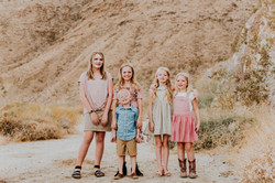 grandkids cousins posed in the desert multi generation  family photography california