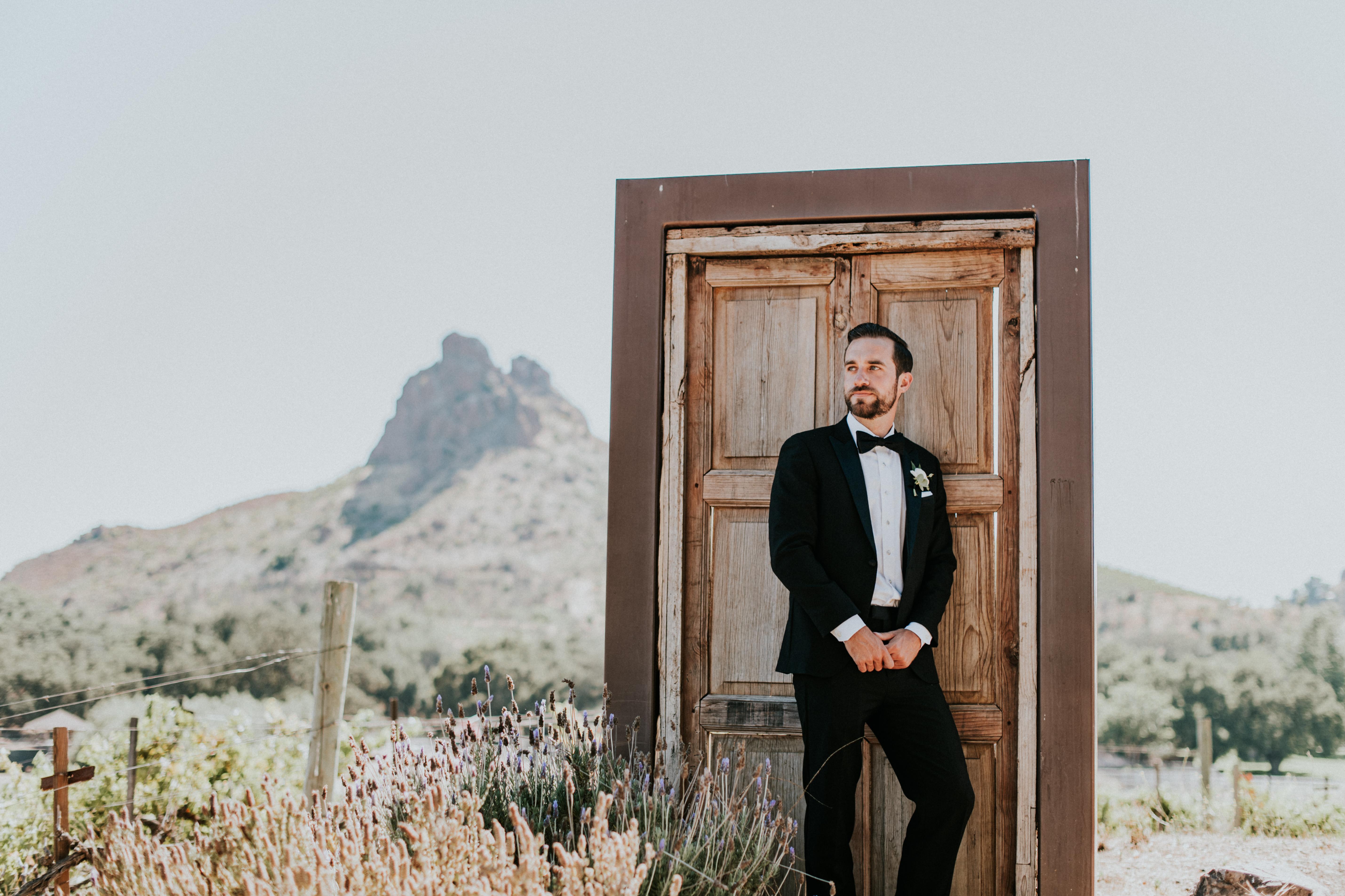 groom in tuxedo malibu wedding photography los angeles