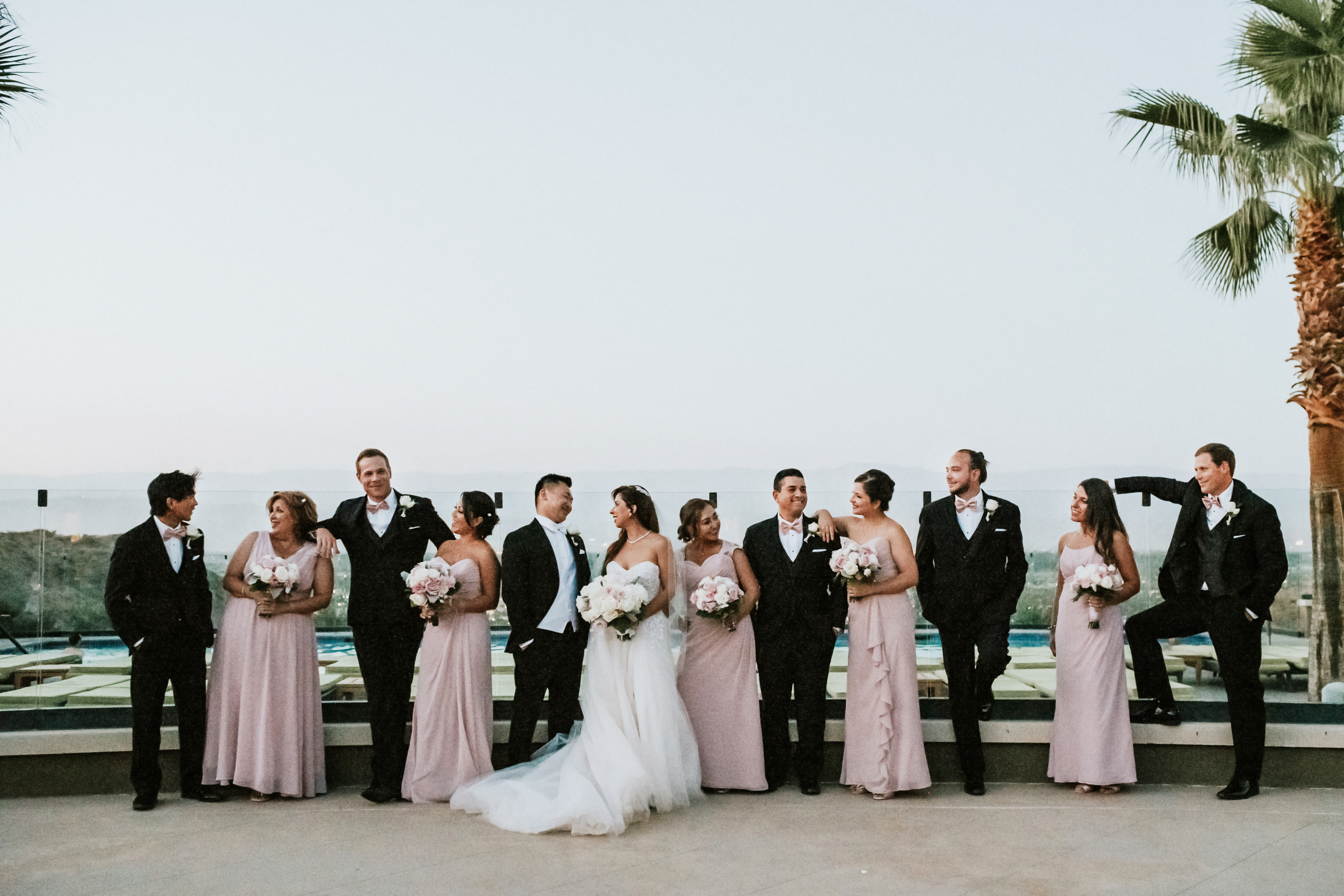 bride and groom with bridal party groomsmen bridesmaids group photo wedding day wedding photography