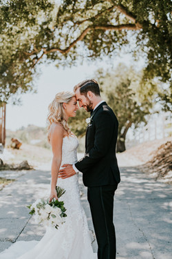 bride and groom posed forehead to forehead wedding day wedding photography los angeles
