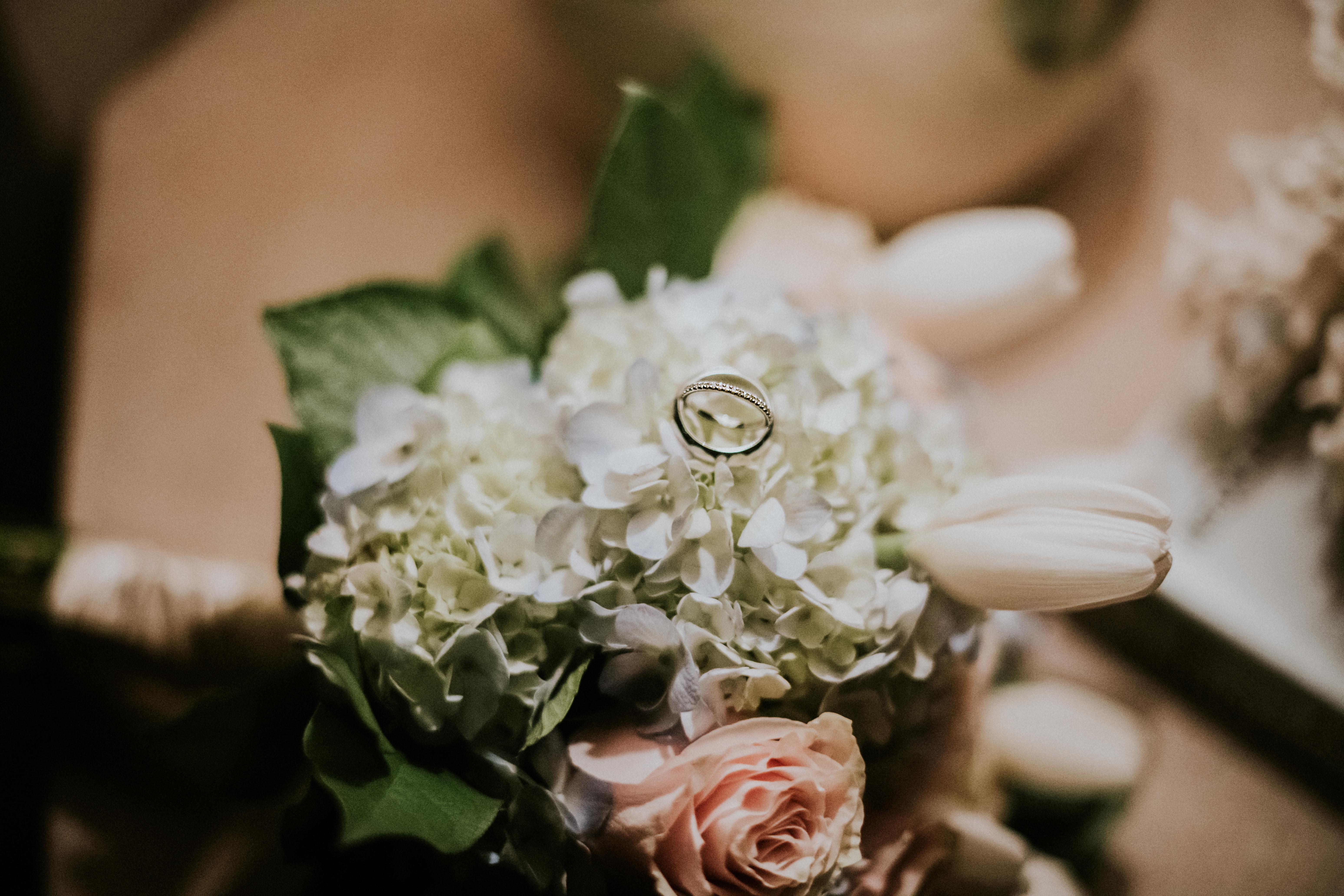 wedding rings on bouquet detail wedding photography california wedding hotel casa del mar