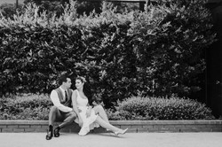 bride and groom posed holding each other courthouse small wedding day photography california wedding
