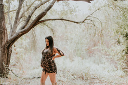 pregnant woman dress in woods maternity photography los angeles california
