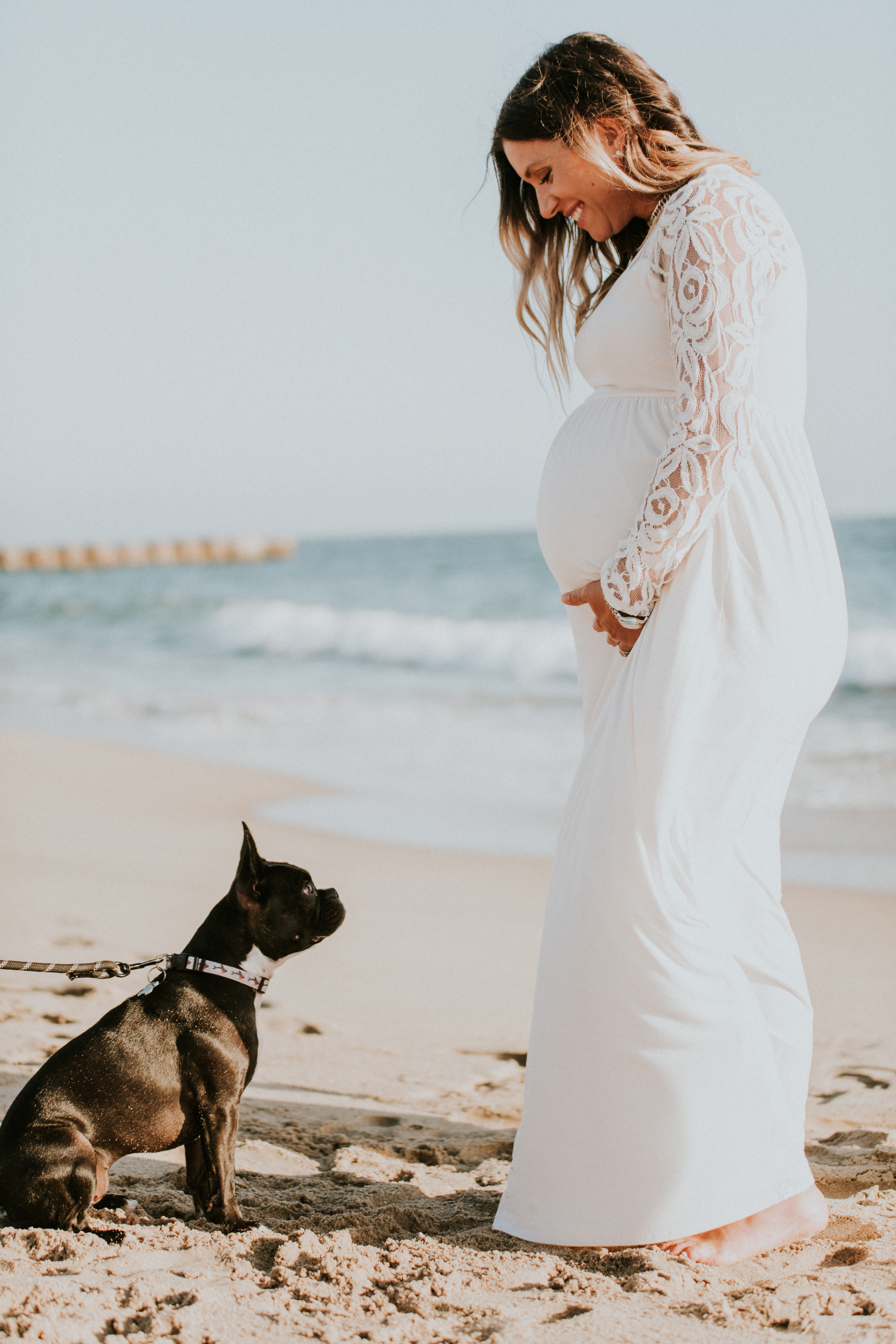 dog on beach pregnancy photos maternity photography los angeles california