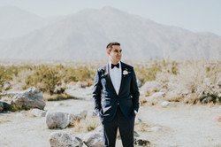 groom in blue tuxedo wedding photography palm springs
