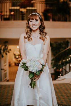 bride in wedding dress with bouquet wedding day photography california wedding hotel casa del mar