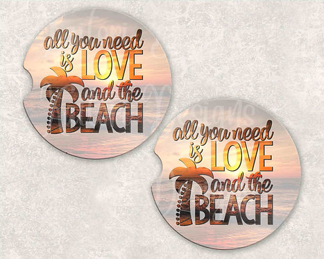 All You Need Is Love and Beach Car Coasters- Sandstone Car Coasters- Set of 2