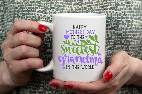 Happy Mother's Day to the Sweetest Grandma Ever Coffee Mug- 15oz Mug