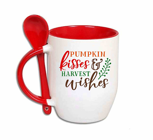 Pumpkin Kisses & Harvest Wishes 10oz spoon mug