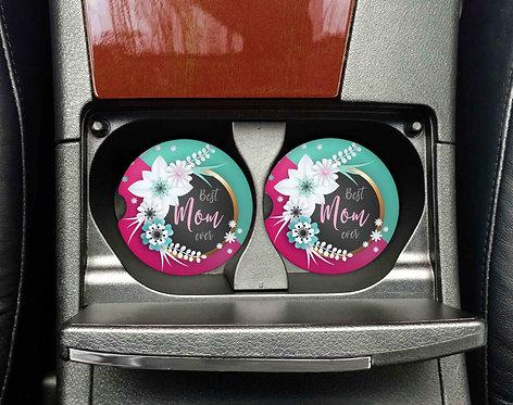 Best Mom Ever Car Coasters- Sandstone Car Coasters-Set of 2