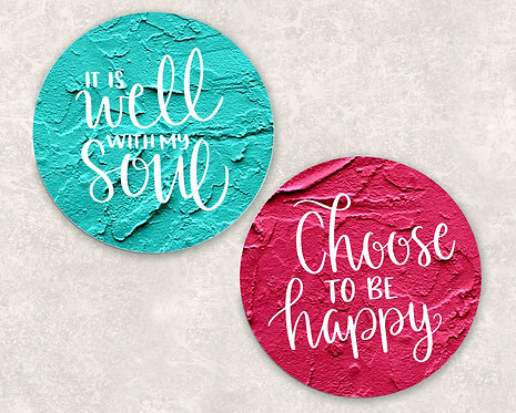 It Is Well With My Soul/ Choose To Be Happy Sandstone Car Coasters- Set of 2
