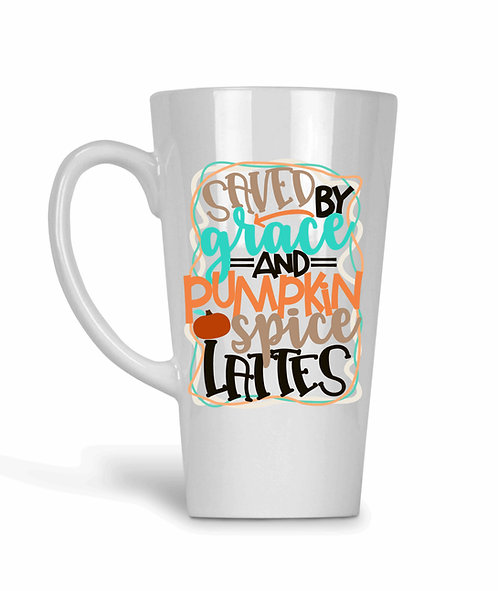 Saved By Grace And Pumpkin Spice Lattes 17oz Latte Mug