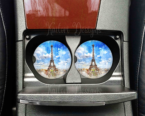 Paris Watercolor Car Coasters- Sandstone Car Coasters- Set of 2