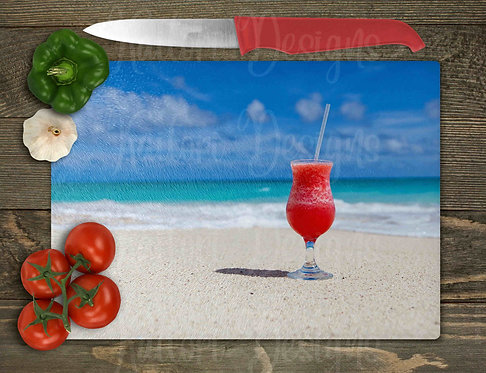 Cocktail on the Beach Cutting Board Sublimation Design 8x11